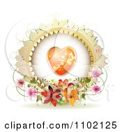 Clipart Round Heart Frame With Lilies Vines And Pink Blossoms On White Royalty Free Vector Illustration