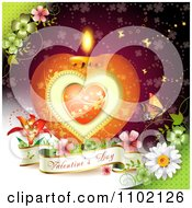 Clipart Heart Candle With A Valentines Day Banner Flowers And Butterfly Over Red 1 Royalty Free Vector Illustration