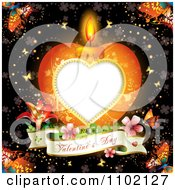 Clipart Heart Candle With A Valentines Day Banner And Butterflies Over Clovers Royalty Free Vector Illustration