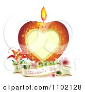 Clipart Heart Candle With A Valentines Day Banner On White Royalty Free Vector Illustration