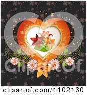 Clipart Lilies Inside A Heart Frame With Flowers And Clovers Royalty Free Vector Illustration