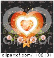 Clipart Heart Inside A Heart With Clovers Butterflies And Flowers Royalty Free Vector Illustration