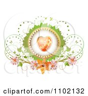 Clipart Heart Inside A Green Leaf Frame With Butterflies And Flowers On White Royalty Free Vector Illustration