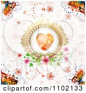 Clipart Heart Inside A Round Frame With Rays Butterflies And Flowers On Pink Royalty Free Vector Illustration