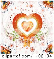Clipart Heart Inside A Heart Over Pink Rays Butterflies And Flowers Royalty Free Vector Illustration