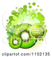 Clipart Bright Green Natural Kiwi Slices Over Halftone And Circles On White 1 Royalty Free Vector Illustration by merlinul