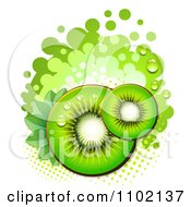 Clipart Green Kiwi Slices Over Halftone And Circles On White 1 Royalty Free Vector Illustration by merlinul