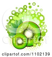 Clipart Green Kiwi Slices Over Halftone And Circles On White 2 Royalty Free Vector Illustration by merlinul