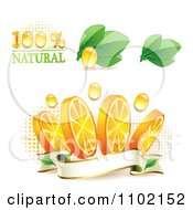 Clipart Natural Orange Slices Over Halftone And Circles On White 1 Royalty Free Vector Illustration
