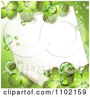 Clipart Blank Note And Dewy Shamrock St Patricks Day Background 2 Royalty Free Vector Illustration