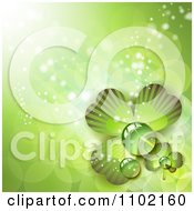 Clipart St Patricks Day Background Of Dewy Green Shamrocks 1 Royalty Free Vector Illustration by merlinul