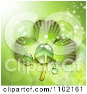 Clipart St Patricks Day Background Of Dewy Green Shamrocks 2 Royalty Free Vector Illustration