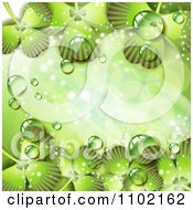 Clipart St Patricks Day Background Of Dewy Green Shamrocks 3 Royalty Free Vector Illustration