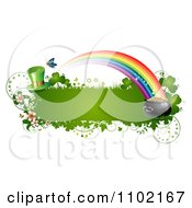Clipart St Patricks Day Banner With A Leprechaun Hat Rainbow And Pot Of Gold Royalty Free Vector Illustration