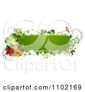 Clipart Green St Patricks Day Banner With Shamrocks Butterflies And Lilies Royalty Free Vector Illustration