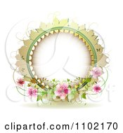 Clipart Round Frame With Vines And Pink Blossoms On White Royalty Free Vector Illustration
