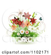 Clipart Spring Lilies Daisies And Shamrocks With Butterflies On White Royalty Free Vector Illustration