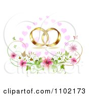 Clipart Gold Wedding Bands Over Cherry Blossoms Hearts And Butterflies Royalty Free Vector Illustration