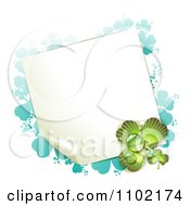 Clipart St Patricks Day Background Of A Blank Page With Dew And Green And Turquoise Shamrock Royalty Free Vector Illustration