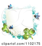 Clipart St Patricks Day Background Of A Blank Page With Butterflies Dew And Green And Turquoise Shamrock Royalty Free Vector Illustration