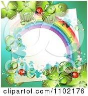 Clipart Blank Note Ladybug Rainbow And Dewy Shamrock St Patricks Day Background Royalty Free Vector Illustration