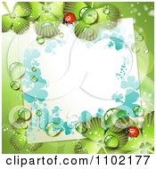 Clipart Blank Note Ladybug And Dewy Shamrock St Patricks Day Background Royalty Free Vector Illustration