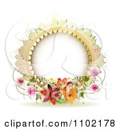 Clipart Round Frame With Lilies Vines And Pink Blossoms On White Royalty Free Vector Illustration