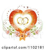 Clipart Wedding Bands In A Heart Frame With Blossoms Butterflies And A Lily Royalty Free Vector Illustration