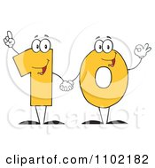 Clipart Yellow One And Zero Holding Hands And Forming A Ten Royalty Free Vector Illustration