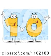 Clipart Yellow One And Zero Holding Hands And Forming A 10 Over Blue Royalty Free Vector Illustration