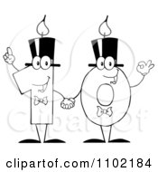 Clipart Outlined One And Zero Birthday Candles Holding Hands And Forming A Ten Royalty Free Vector Illustration