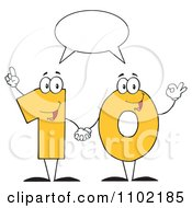 Clipart Talking Yellow One And Zero Holding Hands And Forming A Ten Royalty Free Vector Illustration