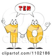 Clipart Yellow One And Zero Holding Hands And Saying Ten Royalty Free Vector Illustration