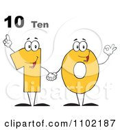 Clipart 10 Ten Text Over A Yellow One And Zero Holding Hands Royalty Free Vector Illustration