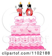 Clipart Red One And Zero Candles Forming A Ten On A Pink Birthday Cake Royalty Free Vector Illustration