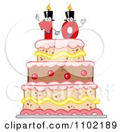 Clipart Red One And Zero Candles Forming A Ten On A Birthday Cake Royalty Free Vector Illustration