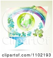 Clipart St Patricks Day Frame With Dewy Shamrocks A Globe And A Rainbow Royalty Free Vector Illustration by merlinul