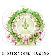 Clipart St Patricks Day Shamrock Clock With Coins Leaves Vines And Blossoms Royalty Free Vector Illustration by merlinul