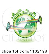 Clipart Butterflies With Rainbow Trails Over A Green Globe With Horses And Homes On Top Royalty Free Vector Illustration by merlinul