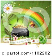 Happy St Patricks Day Banner With A Shamrock Rainbow And Pot Of Gold