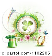 Clipart Shamrock In A Frame With Blossoms Butterflies A Leprechaun Hat Coin And Horseshoe On White Royalty Free Vector Illustration