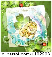 Happy St Patricks Day Greeting With A Shamrock Rainbow And Coins On Green