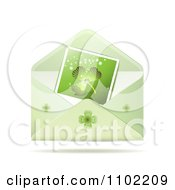 Clipart Shamrock Photo In A St Patricks Day Greeting Envelope Royalty Free Vector Illustration