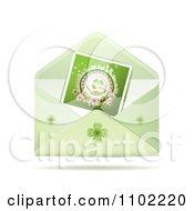 Clipart Shamrork St Patricks Day Photo In A Green Envelope Royalty Free Vector Illustration