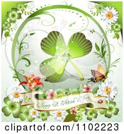 St Patricks Day Shamrock In A Frame With Clovers And A Greeting Banner