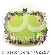 Clipart Butterfly Blossoms And Clover St Patricks Day Border Royalty Free Vector Illustration