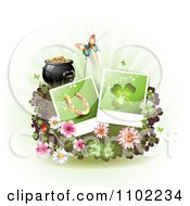 Clipart St Patricks Day Horseshoe And Shamrock Instant Photos With Blossoms Clovers A Butterlfy And Pot Of Gold Royalty Free Vector Illustration