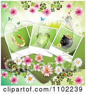 Clipart Horseshoe Shamrock And Pot Of Gold Photos Over Blossoms And Butterflies On Green Royalty Free Vector Illustration