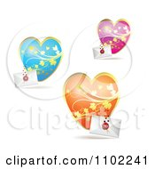 Clipart Blue Pink And Orange Floral Hearts With Letters Royalty Free Vector Illustration