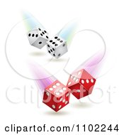 Clipart White And Red Rolling Dice Royalty Free Vector Illustration